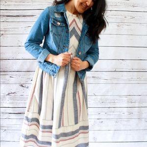 Striped High Neck Cotton Midi Dress w/ Pockets